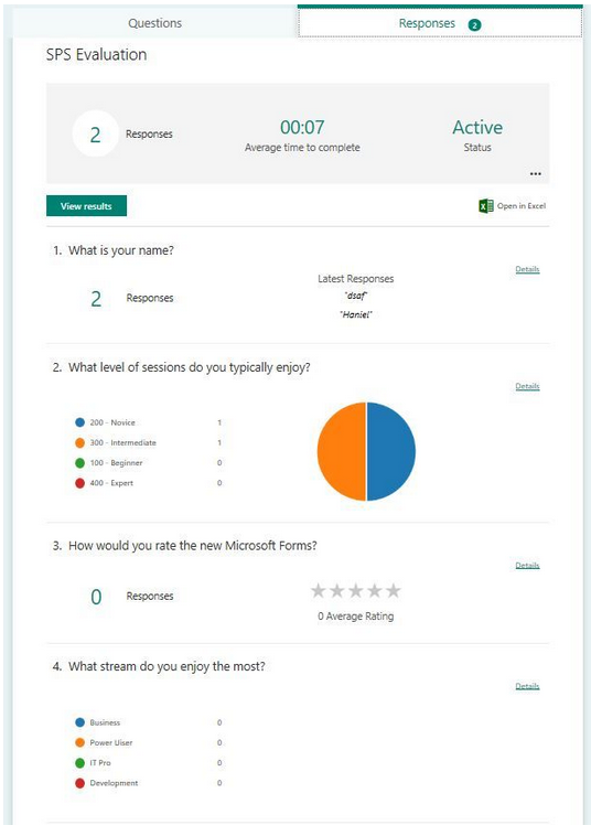 Analyze responses from Microsoft Forms