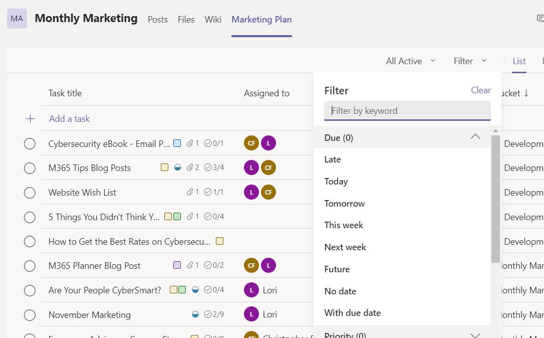 Microsoft Planner List view