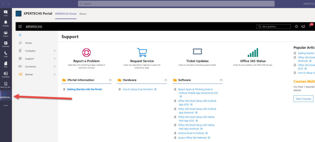 Accessing XPERTECHS support in Microsoft Teams