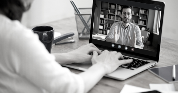 Two people in a video conference