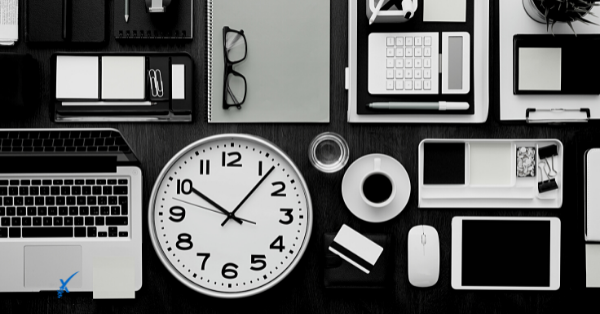 Multiple business tools on a desk